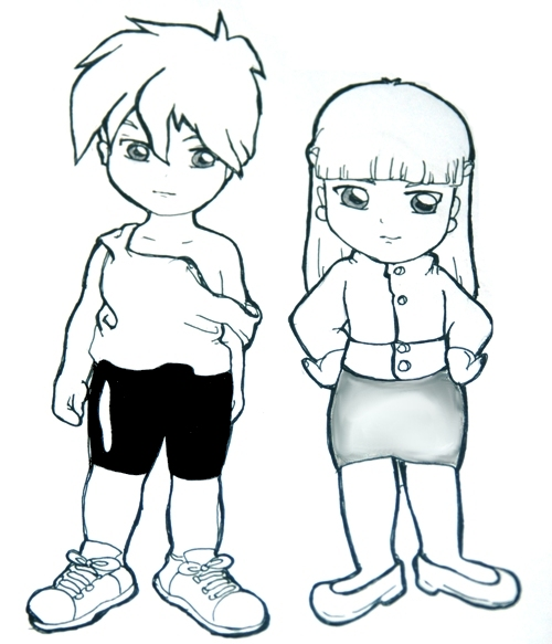 Chibi!Heero and Relena