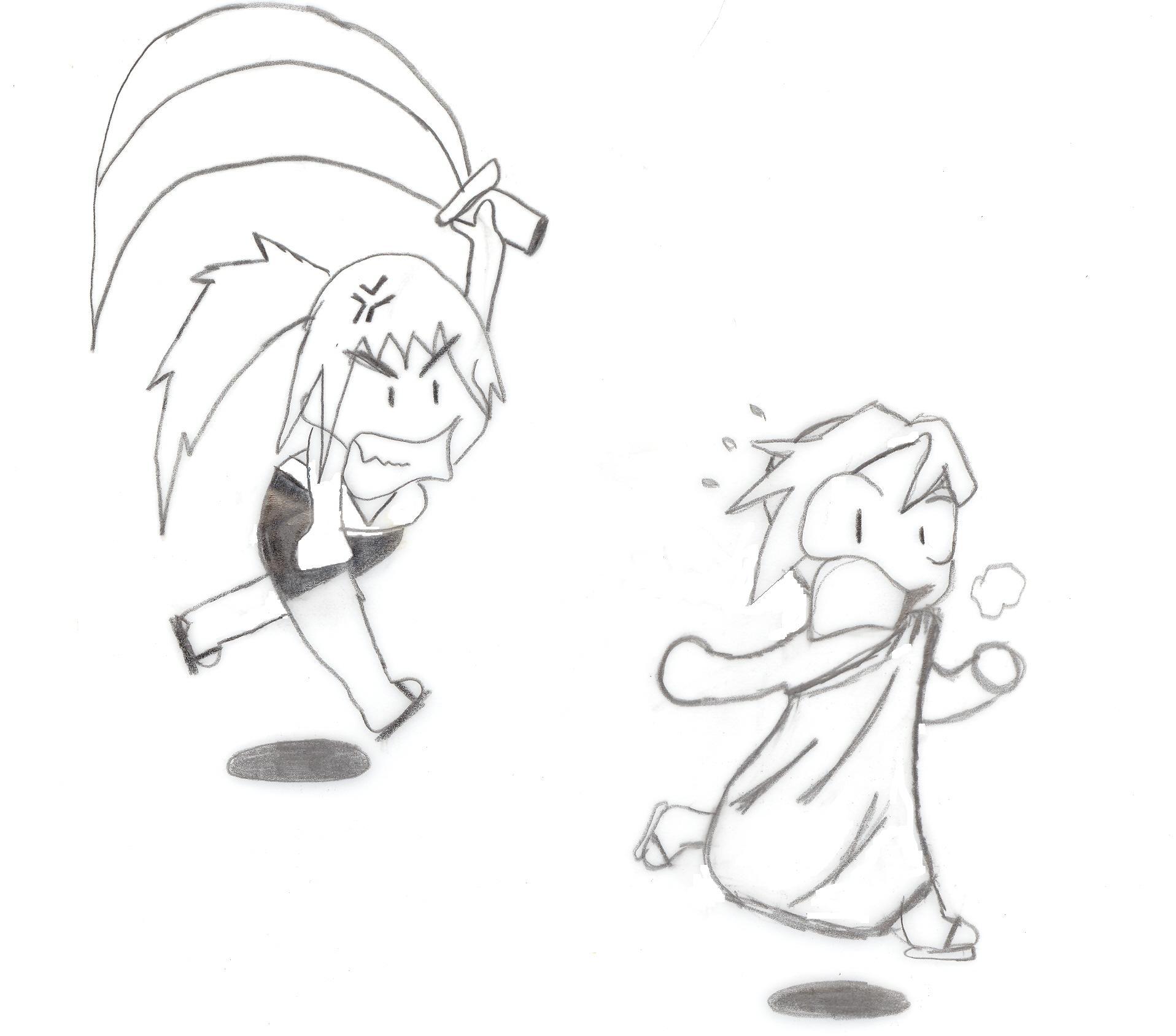 Daphne chasing Lysander