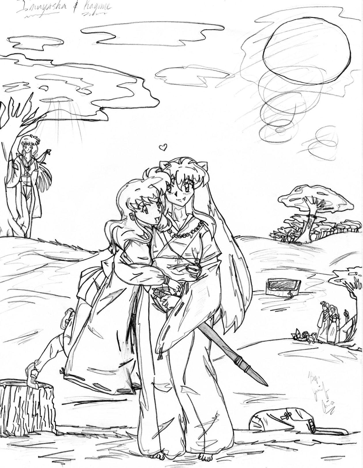 Kagome and inu LUV HUG!