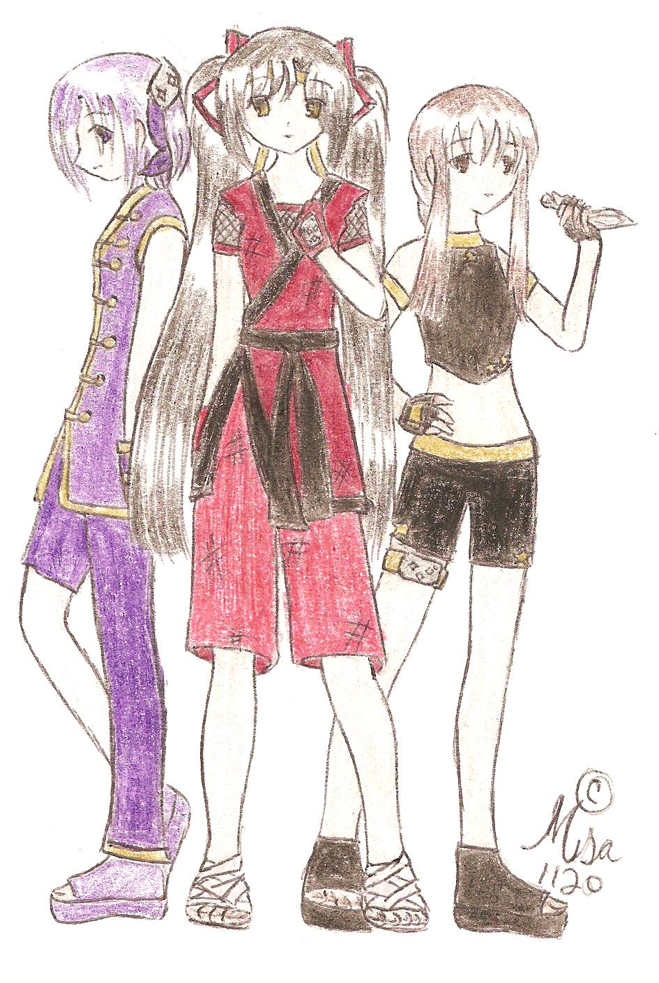 Aya, Ryu, and Hiken (Left to right)